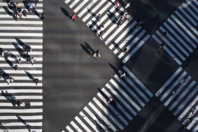 People walking at crossroads